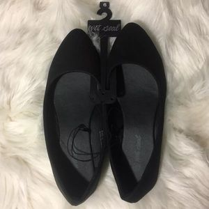 Wet Seal Faux Suede Black Pointed Flats